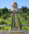 Haifa, Israel: the Bahai temple - terraces and stairway - Shrine of the Ba'b - Unesco world heritage site - photo by E.Keren