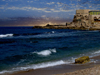 Israel - Qesarriya / Caesarea Maritima / Caesarea Palaestina: Crusader's dungeons - beach by the old city - photo by Efi Keren