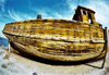 Israel - Dead sea / Yam Ha-Melah: old wooden ship shot with a fisheye lens - photo by C.Ariav