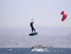 Israel - Eilat - kite surf - surfer in flight - water sports - photo by E.Keren