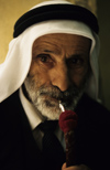 Israel - Jerusalem - old Arab man smoking a water pipe - photo by Walter G. Allgöwer