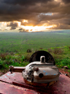 Golan Heights, Israel: view over the valley of Galilee from an old tank turret - remains of the Six-Day War - photo by E.Keren