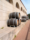 Golan Heights, Israel: wooden barrels along the wall of Yarden winery - producer of Kosher wines - photo by E.Keren