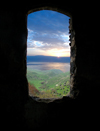 Golan Heights, Israel: view over the Sea of Galilee / Lake Kinneret / Lake Tiberius, from the ruins of an old house - photo by E.Keren