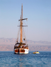 Eilat, South district, Israel: sailing boat L'Amie, used for tours in the Red Sea - Mifratz Eilat - photo by E.Keren