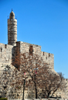 Jerusalem, Israel: tower of David and the City walls, the minaret was added in 1635 AD by Mohammed Pasha - photo by M.Torres