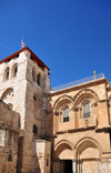 Jerusalem, Israel: Romanesque style facade of the Holy Sepulcher church, aka Church of the Resurrection - important pilgrimage destination since the 4th century - parvis - Christian quarter - photo by M.Torres