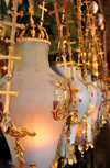 Jerusalem, Israel: Holy Sepulcher church - opulent oil lamps over the Stone of Anointing, contributed by Armenians, Copts, Greeks and Latins - Christian quarter - photo by M.Torres