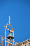 Jerusalem, Israel: roof of the Holy Sepulcher church - small bell on a metal frame - Christian quarter - photo by M.Torres