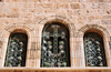 Jerusalem, Israel: Holy Sepulcher church - triple window decorated with Armenian motives - wrought Iron latticework - parvis - Christian quarter - photo by M.Torres