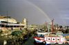 Israel - Akko / Acre: boats and rainbow - harbour - photo by J.Kaman
