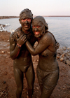 Israel - Dead sea: mud bath - the mud of the Dead Sea has health and cosmetic uses - photo by G.Friedman