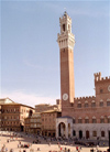 Italy / Italia - Siena  (Toscany / Toscana) / FLR : central square - Historic Centre of Siena - Mangia tower - Unesco world heritage site - photo by M.Bergsma