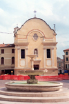 Treviso  - Venetia / Veneto, Italy / QTV: fountain and  and Chiesa di San Leonardo - photo by M.Torres
