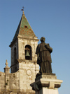Italy / Italia - Venosa (Basilicata - provincia di Potenza): statue and campanile - church - chiesa (photo by Emanuele Luca)