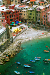 Italy / Italia - Liguria: Vernazza village -  Cinque Terre: small beach in the center - Unesco world heritage site - photo by D.Smith