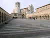 Italy / Italia - Assisi, Perugia - Umbria: Basilica of San Francesco d'Assisi (St. Francis) - World Heritage Site - the Lower and Upper Basilica and the porticus, from the Piazza delle Logge - photo by M.Bergsma