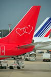 Rome, Italy: double heart on an aircraft tail - Fiumicino - Leonardo da Vinci Airport - Sterling Airlines - photo by M.Torres