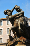 Rome, Italy: woman taming a horse - sculpture in the Piazza della Repubblica fountain - Fontana delle Naiadi, by Mario Rutelli - photo by M.Torres