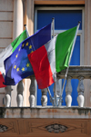 Rome, Italy: Italian and European flags - Via Nazionale- Hotel Giolli - photo by M.Torres