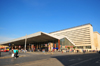 Rome, Italy: Roma Termini railway station - modernist façade in travertine and cantilever roof - photo by M.Torres