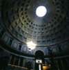 Rome, Italy: Pantheon - coffered concrete dome built in 118 AD - ray of light through the oculus - photo by J.Fekete