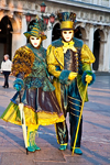 Carnival participants with Carnival costumes with an Irish theme in Piazza San Marco, Venice - photo by A.Beaton