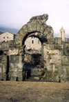 Italy - Aosta / Aoste (Valle d'Aosta) : ruins of the Roman theater - photo by M.Torres