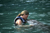 Jamaica - Montego Bay: swimming with dolphins - kissing a dolphin (photo by Francisca Rigaud)