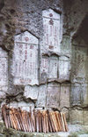 Japan - Yamadera -  Yamagata Prefecture -  Tohoku region on Honshu island: steles carved on the rock- Mountain Temple - Risshaku-ji temple - photo by W.Schipper