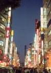 Japan - Tokyo: evening - neon lights - photo by M.Torres
