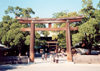 Japan - Tokyo: Meiji-jingu Shrine - the main gate, or torii - photo by M.Torres