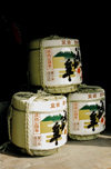 Japan - Fukuoka - island of Kyushu: three barrels of sake - photo by S.Lapides