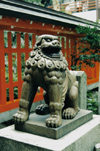 Japan - Fukuoka: lion sculpture - photo by S.Lapides