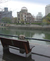 Japan (Honshu island) Hiroshima - Chugoku region: Hiroshima Peace Memorial Genbaku Dome - A-Bomb Dome and one of the channels of the Ota river - Unesco world heritage site (photo by G.Frysinger)