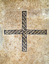 Mount Nebo - Madaba governorate - Jordan: braided cross in the basilica - Memorial of Moses - photo by M.Torres