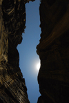 Jordan - Petra: Siq - narrow gorge and the sun - photo by M.Torres