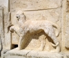 Jordan - Qasr Iraq El-Amir / Cave of the Prince: panther decorating the fountain on the east side  of Qasr Iraq El-Amir - unfinished palace built by the Tobiad Prince Hyrcan / Herkanus, the Ammonite - Qasr al-Abd -  hellinistic ruins - archeology - photo by I.Dnieprowsky
