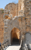 Ajlun - Jordan: Ajlun castle - main gate and bridge over the moat - photo by M.Torres