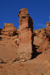 Kazakhstan, Charyn Canyon: Valley of the Castles - bright red rock formation - photo by M.Torres