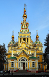 Kazakhstan, Almaty: Holy Ascension Russian Orthodox Cathedral - fa�ade seen from Panfilov Park - photo by M.Torres