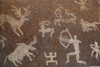 Kazakhstan, Almaty: Republic square - replica of petroglyphs - hunting scene - photo by M.Torres