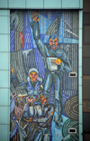 Kazakhstan, Almaty: Arbat - Zhybek-Zholy, or Silk road street - workers and intellectuals - tiles on a building - photo by M.Torres