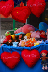 Kazakhstan, Almaty: Arbat - Zhybek-Zholy, or Silk road street - hearts for sale - valentine's day - photo by M.Torres