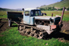 Kazakhstan - Almaty oblys: an old tractor and a trailer in the country side - photo by E.Petitalot