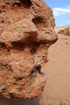 Kazakhstan, Charyn Canyon: Valley of the Castles - scary face - rock sculpture - photo by M.Torres