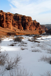 Kazakhstan, Charyn Canyon: Valley of the Castles - snow and red cliffs - photo by M.Torres