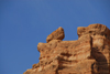 Kazakhstan, Charyn Canyon: Valley of the Castles - cliff with balancing rock - photo by M.Torres