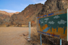 Kazakhstan, Charyn Canyon: Valley of the Castles - billboard - keep the river clean - photo by M.Torres