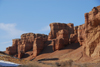 Kazakhstan, Charyn Canyon: Valley of the Castles - wind eroded reddish cliffs - photo by M.Torres
